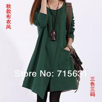 2014 Spring  And Autumn Fashion Casual Placketing Plus Size Women Irregular Long-Sleeve Dress Maternity Dress
