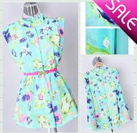 Free shipping/2014 New Fashion Gentlewomanly/Shivering pattern printing Sleeveless Chiffon Blouses Women's Shirts