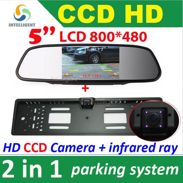 "2 in 1 HD CCD European Car License rear view camera + 5"" 800*480 Car Mirror Monitor, license plate frame parking camera monitor(China (Mainland))"