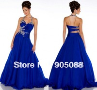 New Fashionable Halter Royal Blue Chiffon Straps Back Beaded A-line Pageant Gowns Elie Saab Prom Dresses 2014