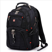 High Quality Swiss Army Knife Brand Backpack Large Capacity Men's Black Wenger Backpack Laptop Bags 15 inch 8112  Free Shipping