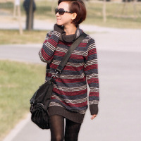 Spring 2104 New Brand Personality Loose Long Sleeve Turtleneck Stripe Knitted Sweater Women