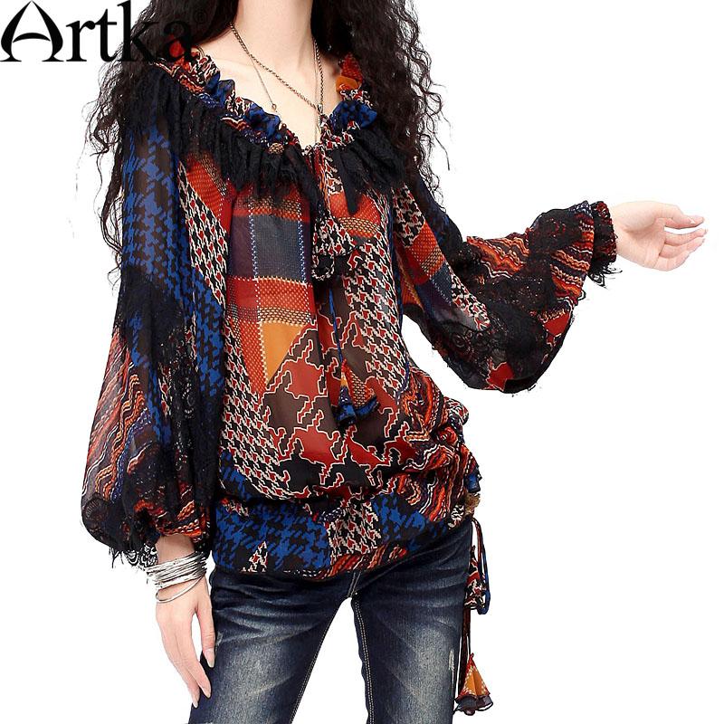 [$62.58] Artka Women's Spring Color Matching Printed Draping Skin-friendly Lace-trimmed Print Chiffon Puff Sleeve Shirt SA10136Q(China (Mainland))