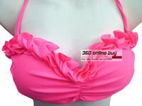 Women's High Quality Unique Sexy Swimwear Bikini Set Top With Ruffles Lace Ruched Bottom Swimsuit Ladies' Beachwear 2014 New