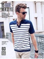 korea stylish Fashion men's T shirt male slim fit casual business short sleeve V collar stripe T shirt cotton 6 colors big size