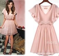2014 summer popular fashion lady lotus leaf sleeve chiffon dress White, pink, black free