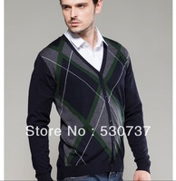 Hot-selling 2014 sweater spring and autumn male urban casual dimond plaid color block decoration cardigan sweater