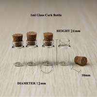 free shipping 20pcs/lot 1ml glass vials, Glass Bottles,small bottles with corks,storage bottles ,glass jars