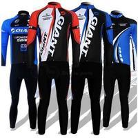 Free shipping! Giant 2012 long sleeve autumn bib cycling long jersey bib pants clothes bicycle bike riding wear set 4 models