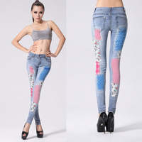2014 European and American fashion style summer Slim thin pencil pants US flag printed Jeans