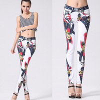 2014 new fashion Slim white jeans  female explosion models printed jeans