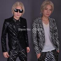 Outerwear male costume spring zebra print long-sleeve male slim blazer