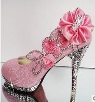 Women's Shoes Summer High Heels Fashion Pumps For Women Rhinestone Flower Shoes Sexy Shoes For Wedding Free Shippin DGGG3004