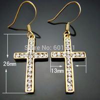 Wholesale jewelry 18k gold plated made with austrian crystal rhinestone alloy cross dangle women wedding earrings
