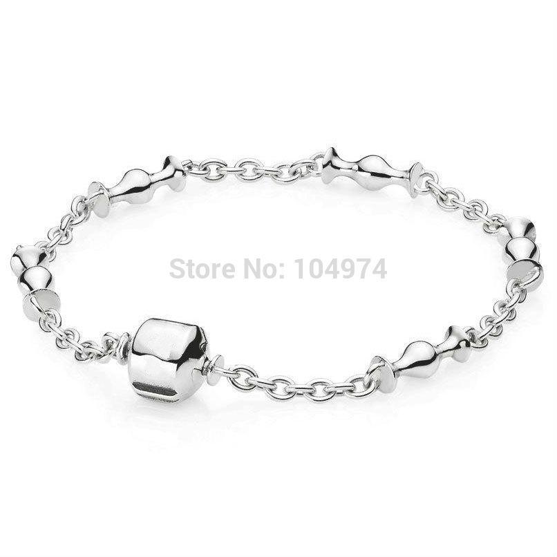 925 bracelet en argent sterling chaîne de main unique européen charms perles 18-22cm longueur