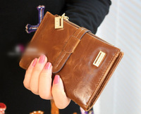 free shipping High-grade oil wax cowhide Women wallet short design wallet fashion women's drawstring wallet hot!!!