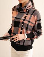 2014 spring fashion loose pile collar knit turtleneck sweater girl lattice bottoming shirt sweater free size 876 free shipping