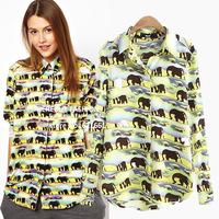 Women Fashion Shirt Blouse African Elephants Print Long Sleeve Green Shirts Brand Designer 2014 New Spring Ladies Dressing
