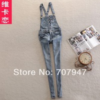 Free shipping brand bib pants female 2014 cute women denim overalls slim one piece blue jumpsuits rompers stretch jeans trousers