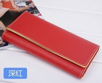 2014 Fashion and lovely Candy color women's wallet long leather wallet lady's wallet 7 colors