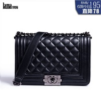 New arrival bags 2014 female genuine leather sheepskin women's handbag plaid chain fashion bag messenger bag