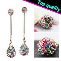 Free Shipping Neoglory Charm Czech Rhinestone Stud Earrings Fashion Jewelry Best Gift Wholesale Dangle Jewelry Russia Hot Sale