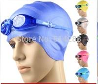 Male women's silica gel ear hair care waterproof swimming cap anti-fog goggles