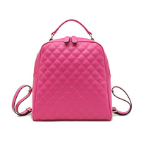 2014 New Brief Fashion Design Diamond Plaid Women Backpack Genuine Leather Candy Color Preppy Style Satchel School Bags Hot Sale