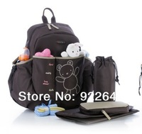 2014 Hot 4Pcs/Set Animal Prints Baby Diaper Bags Cute Bear Colorland Brand Nappy Bag Baby Bag Maternity Backpack for Mom Mother