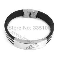 Free shipping! Classic Masonic Bracelet Stainless Steel Jewelry Black Rubber Masonic Bracelet SJB0133