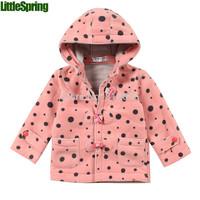 LittleSpring Retail Children's fashion hooded coat boys girls dot button Autumn & Winter outerwear clothes