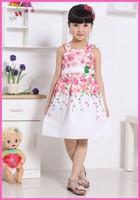 1PCS Retail 3-8Y Summer Hot Girls Floral Dress 2014 Cute Girls Summer Vest Dress,Kid's Flower Dress,Baby Gilrs TUTU Dress