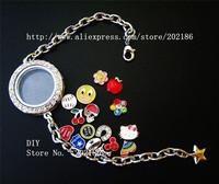 1pcs Magnetic Rhinestone Round Floating locket Bracelets + 13pcs floating charm Free shipping