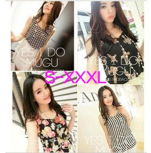 New 2014 Fashion Women Blouses Hot Selling Loose Animal/Flower Printed Chiffon Blouse Autumn-Summer Dot/Heart Sale Shirt(China (Mainland))