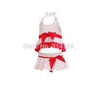vivo-biniya Kid Girl's Two-piece Swimsuits 3pcs/Swimwear And Cap Baby Girls Bowknot Swimwear Children Beachwear free shipping