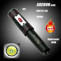 Free shipping New Design ARCHON D10S Strong Light 860 lm CREE XM-L U2 LED Mini Magnetic Switch Professional Diving Flashlight