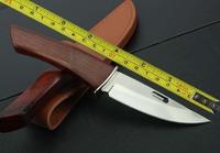 FREE SHIPPING NEW ROCKSTEAD Wood Hadnle Mirror light Blade Hunting knife VTH51