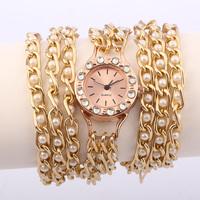 Hot Sale! Summer Fashion Latest Popular Hawaiian Style Sparkling Quartz Manual Chain Watches Women