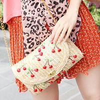 women's handbag fruit cherry and beach straw bag rattan bag