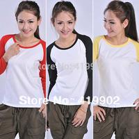 New Fashion Womens Ladies Casual Crew Neck Baseball Raglan T-Shirt Shirts TEE Contrast Color Tops
