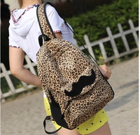 Free Shipping 2014 sale Fashion Leopard backpack h belt buckle with cute mustache for colleague school girls and women backpacks