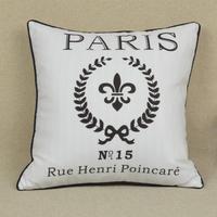 45*45 CM Home Decorative White France Paris Throw Cushion  Cover Pillow Case