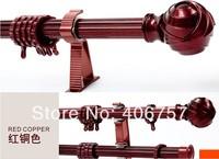 Quality Anodized aluminum alloy 24mm dia.*300cm L*1mmT copper single curtain rod set including finials+rods+brackets+connectors