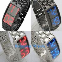New Fashion Men Digital Watch LED Display Clock Man Full Steel Watches Male Sports Wristwatches LD2842