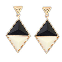Fashion jewelry new wholesale geometry alloy enamel Diamond gold filled alloy stud earrings