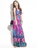Free Shipping 2012 Fashion Bohemian Printed women dresses purple Summer Beach Halter Maxi Dress Floral  wholesale retail
