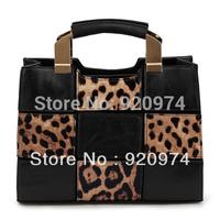 Free Shipping Fashion 2014 Motorcycle  Leopard Print Handbags Messenger Bag Women's Totes