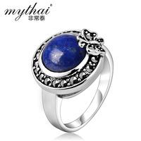 925 pure silver lapis lazuli women's index finger ring Women jewelry
