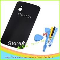 Original back case battery door glass Housing FOR LG Google Nexus 4 E960 LCD cover + with logo +sticker