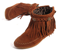 Free Shipping US5-9  Real Cow  Leather Moccasin Fringe Tassel Ankle Boots womens shoes womens Moccasin Boots wedge shoes